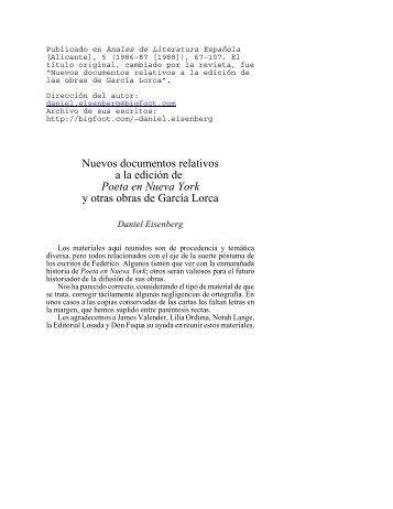 Nuevos documentos relativos a la edición de Poeta en Nueva York ...