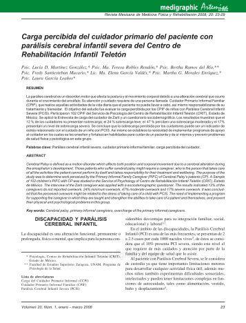 Carga percibida del cuidador primario del paciente ... - edigraphic.com