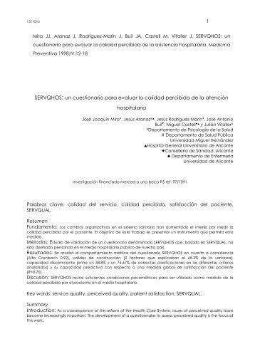 SERVQHOS: un cuestionario para evaluar la calidad percibida de la ...