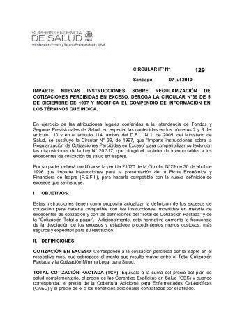 Descargar pdf Circular IF N°129 - Superintendencia de Salud