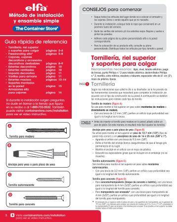 Tornillería, riel superior y soportes para colgar - The Container Store