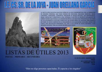 LISTAS DE ÚTILES 2013 - Clic Aqui - IE Ciencias Señor de la Joya