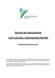 Bericht der Heimaufsicht nach § 22 Abs. 3 Heimgesetz (Heimg)