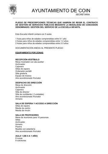 Pliego de Prescripciones Técnicas - Ayuntamiento de Coín