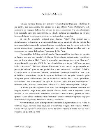 Musica Popular Brasileira - Cantos e encantos - Escuela de Música ...