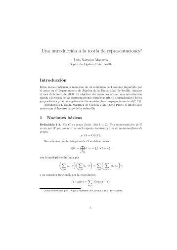 Una introducción a la teoría de representaciones - Universidad de ...