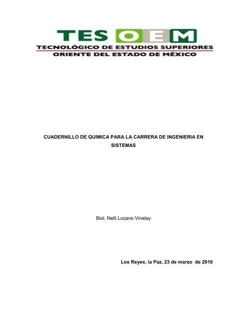 Cuadernillo De Quimica Para La Carrera De Ingenieria