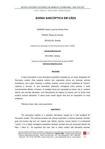 SARNA SARCÓPTICA EM CÃES - Revistas Eletrônicas