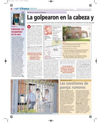 La golpearon en la cabeza y - Diario Hoy