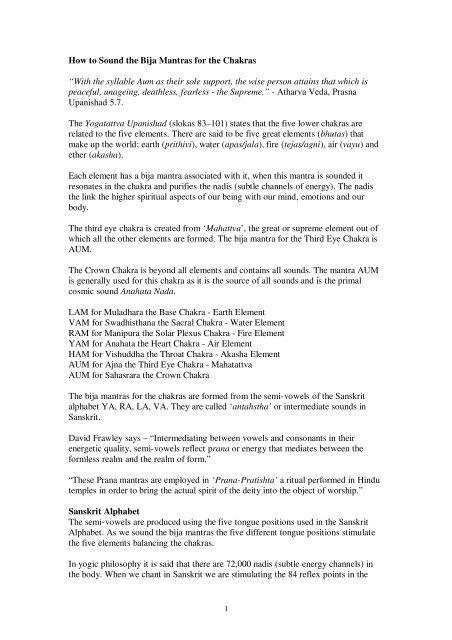 How to Sound the Bija Mantras for the Chakras - Simon Heather