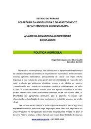 política agrícola - Secretaria da Agricultura e Abastecimento
