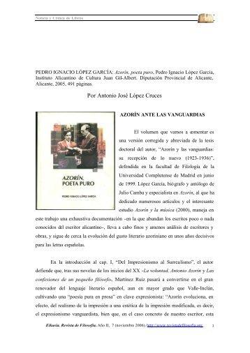 Por Antonio José López Cruces - EIKASIA - Revista de Filosofía