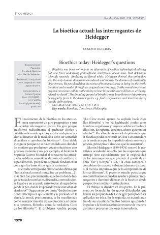 La bioética actual: las interrogantes de Heidegger