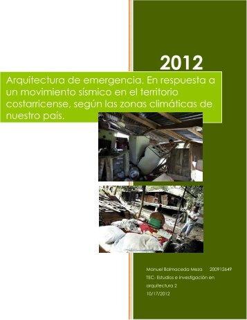 Arquitectura de emergencia. En respuesta a un ... - TEC-Digital