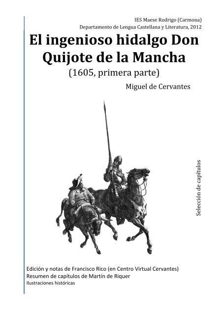 El Ingenioso Hidalgo Don Quijote De La Mancha Profe De Lengua