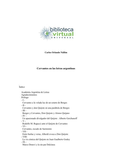 Cervantes En Las Letras Argentinas Biblioteca Virtual Universal