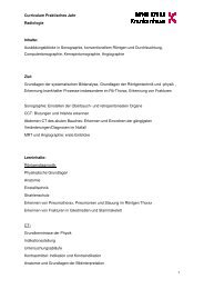Curriculum Praktisches Jahr Radiologie für PJ-Studenten