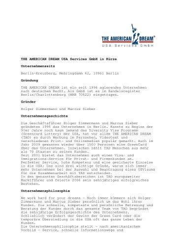 THE AMERICAN DREAM USA Services Gmbh in Kürze ...