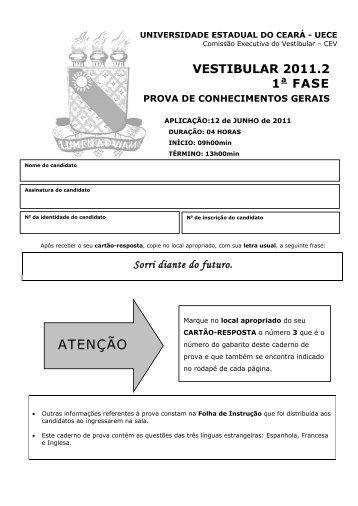 Prova de Conhecimentos Gerais - Gabarito 3 - Universidade ...