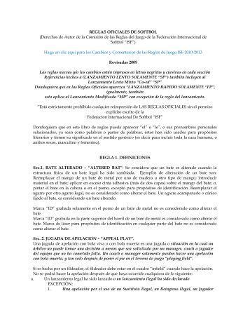 REGLAS OFICIALES DE SOFTBOL - ISF