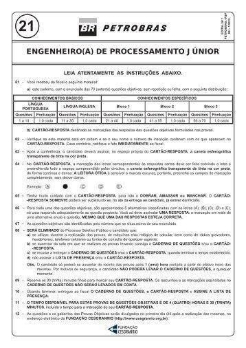 prova 21 - engenheiro(a) de processamento júnior - Cesgranrio