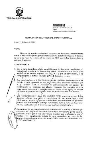 TRIBUNAL CONSTITUCIONAL RESOLUCIÓN DEL TRIBUNAL ...
