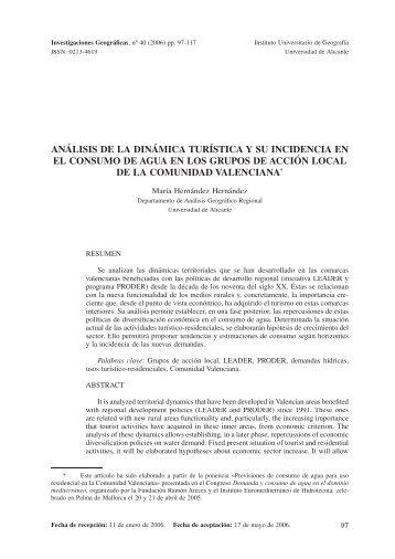 análisis de la dinámica turística y su incidencia en el consumo de ...