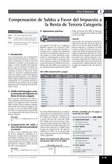 I Compensación de Saldos a Favor del Impuesto a la Renta de ...
