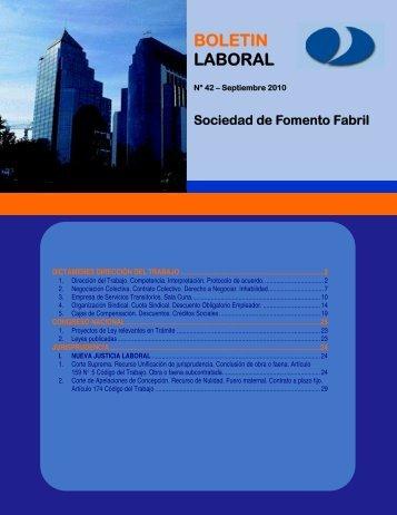 Boletín Laboral N° 42 – Año 2010 - Sofofa