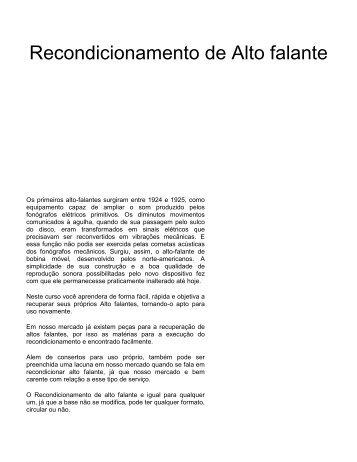 Recondicionamento de Alto falante - Burgoseletronica