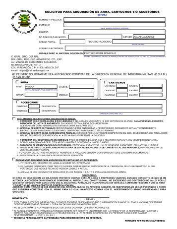 Solicitud para Adquisición de Armas y Cartuchos ( RFA-FC-009).