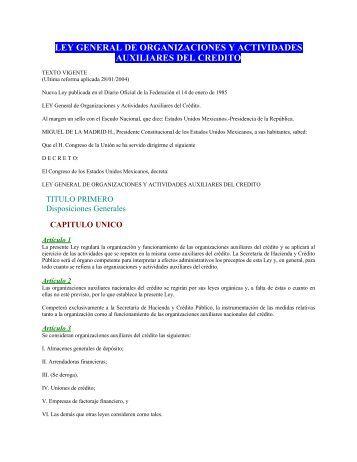 ley general de organizaciones y actividades ... - Financiera Rural
