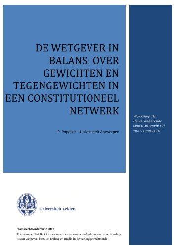 over gewichten en tegengewichten in een constitutioneel netwerk