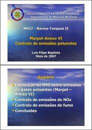 Marpol-Anexo VI Controlo de emissões poluentes Sumário ...