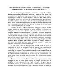 Tema: Métodos de Avaliação: seletivos ou orientadores