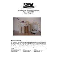 Montage- und Bedienungsanleitung Aqua Saphir AS 5 - Rowa