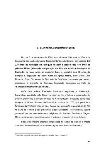 Capítulo VIII - Basílica Santuário Nossa Senhora da Conceição em ...