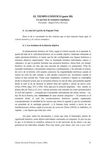 EL TIEMPO GNÓSTICO (parte III) - EIKASIA - Revista de Filosofía
