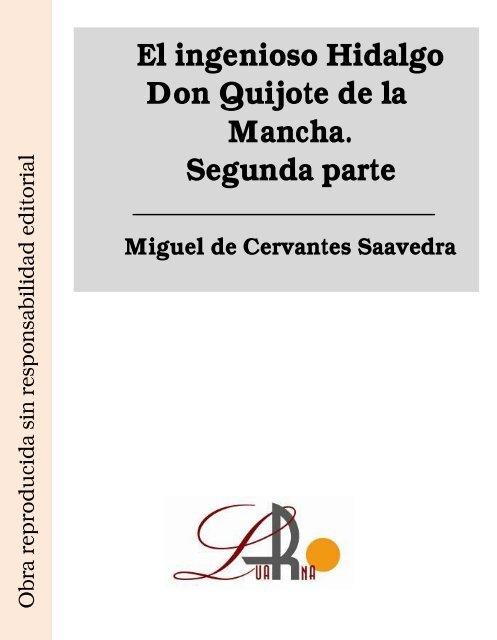 El Ingenioso Hidalgo Don Quijote De La Mancha Ii Bibliolucus