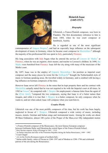 Heinrich Isaac (1445-1517) - Life Beyond Tourism