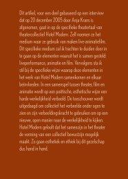 Onder ogen zien. Ethiek en esthetiek bij Hotel - Theatre Studies