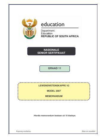 nasionale senior sertifikaat graad 11 - Curriculum