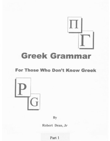 Greek Grammar - The Christian Evangelistic Mission