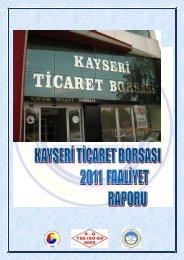 2011 yılı faaliyet raporu - Kayseri Ticaret Borsası