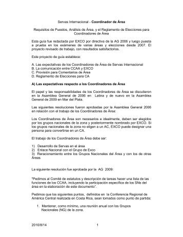 2010/8/14 1 Servas Internacional - Coordinador de Área Requisitos ...