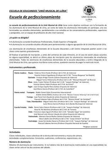 + info e inscripción - Unió Musical de Lliria