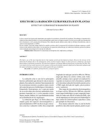 efecto de la radiación ultravioleta-b en plantas - SciELO