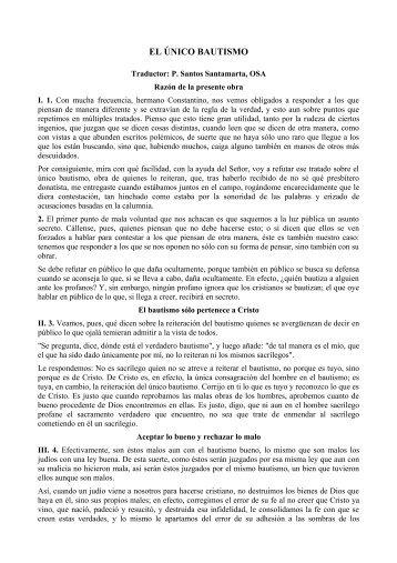 EL ÚNICO BAUTISMO - Corazones.org