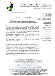 Presseerklärung - Amputierten - Initiative eV / Gefäßkranke