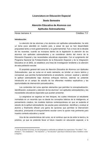 Atención Educativa de Alumnos con Aptitudes Sobresalientes